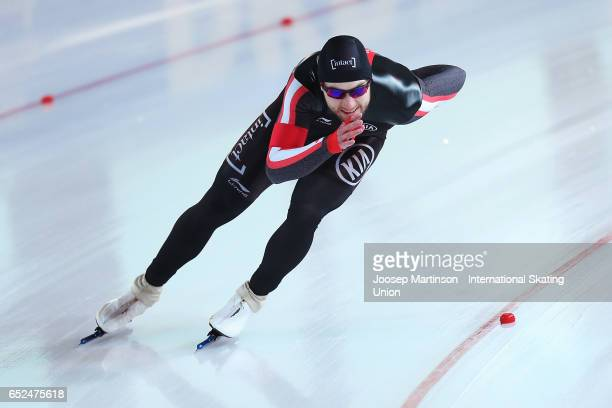 Laurent Dubreuil of Canada competes in the Men's 500m during day 2 of the ISU World Cup Speed Skating at Soermarka Arena on March 12 2017 in...
