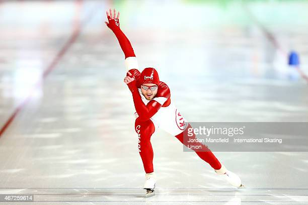Laurent Dubreuil of Canada competes in the Men's 500m on Day 2 of the ISU World Cup Speed Skating Final at the Gunda NiemannStirnemannHalle on March...
