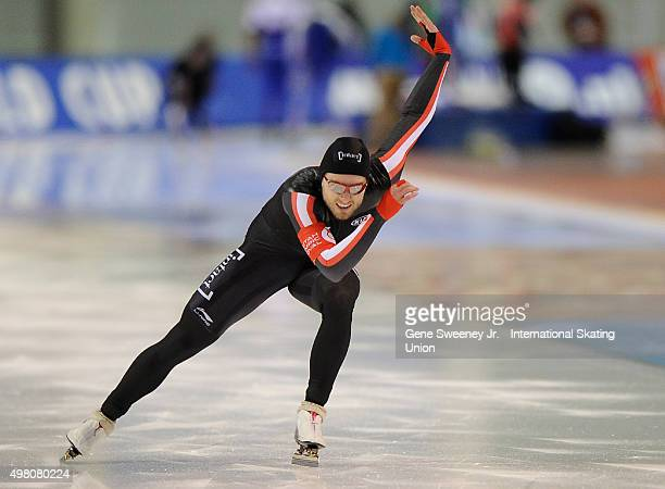 Laurent Dubreuil of Canada competes in the Men's 500m race on day one of the ISU World Cup Speed Skating Salt Lake City event at the Utah Olympic...