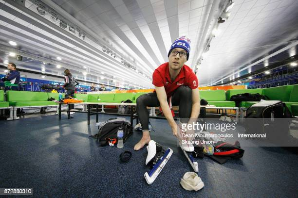 Laurent Dubreuil of Canada gets ready to compete in the Mens 500m race on day two during the ISU World Cup Speed Skating held at Thialf on November...
