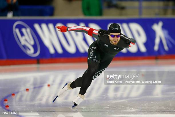 Laurent Dubreuil of Canada races in the men's 500 meter race during the ISU World Cup Speed Skating Championships December 3 2017 in Calgary Alberta...