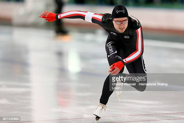 Laurent Dubreuil of Canada skates during the 500m men race Divison A during Day 1 of ISU Speed Skating World Cup at Soermarka Arena on January 29...