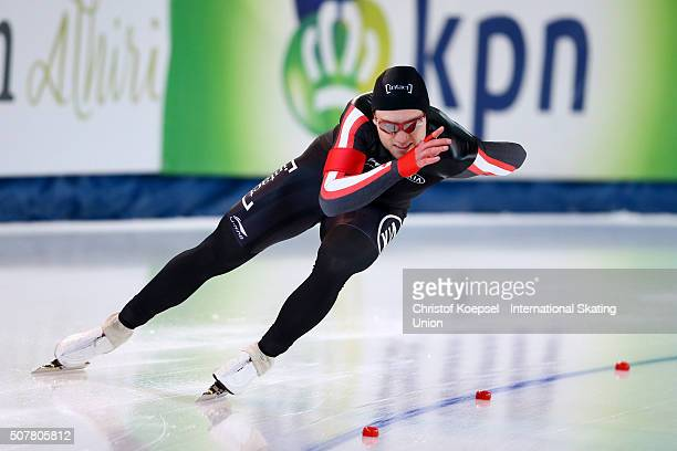 Laurent Dubreuil of Canada skates during the 500m men second race Divison A during Day 3 of ISU Speed Skating World Cup at Soermarka Arena on January...