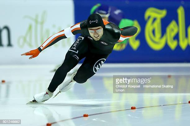 Laurent Dubreuil of Canada skates during the men 2nd 500m during day 3 of ISU Speed Skating World Cup at Thialf Ice Arena on December 13 2015 in...