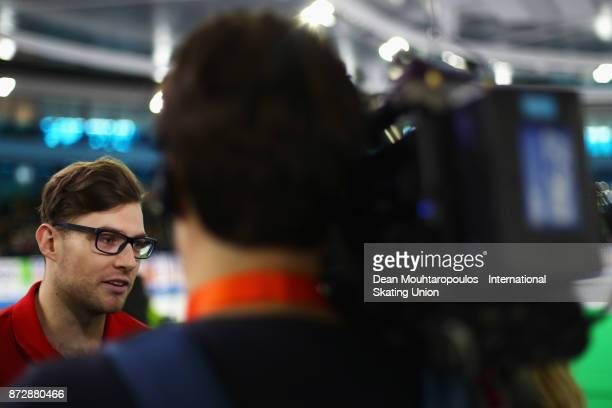 Laurent Dubreuil of Canada speaks to the meida after he competes in the Mens 500m race on day two during the ISU World Cup Speed Skating held at...