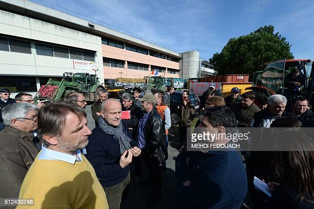 Laurent Dulau president of Ardia speaks to farmers from Dordogne as they demonstrate with trucks and tractors in front of the headquarters of Ardia...
