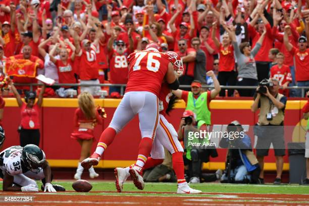 Laurent DuvernayTardif celebrates with tight end Travis Kelce of the Kansas City Chiefs after he scored a touchdown against the Philadelphia Eagles...