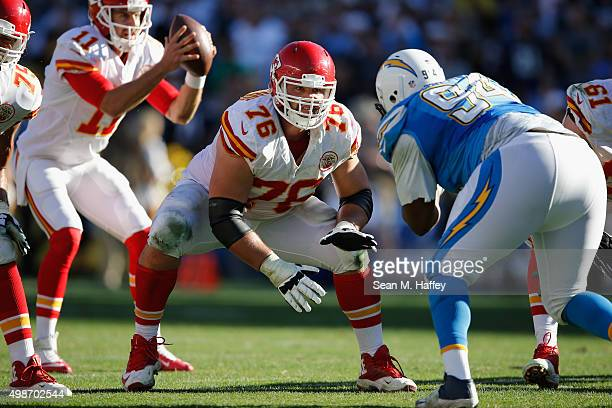 Laurent DuvernayTardif of the Kansas City Chiefs blocks Corey Liuget of the San Diego Chargers during a game at Qualcomm Stadium on November 22 2015...