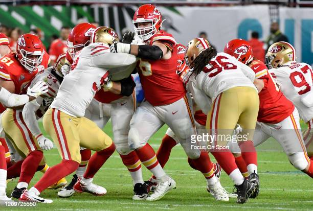 Laurent DuvernayTardif of the Kansas City Chiefs blocks DeForest Buckner of the San Francisco 49ers in Super Bowl LIV at Hard Rock Stadium on...