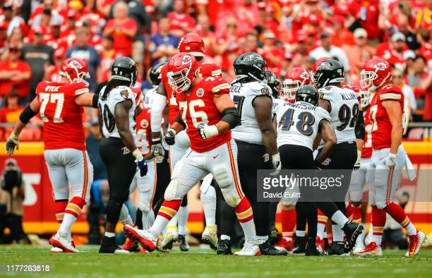 Laurent DuvernayTardif of the Kansas City Chiefs celebrates a Chiefsu2019 first down run against the Baltimore Ravens at Arrowhead Stadium on...