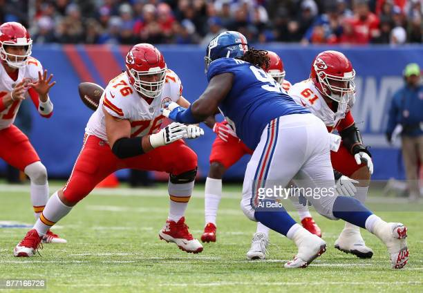 Laurent DuvernayTardif of the Kansas City Chiefs defends against Damon Harrison of the New York Giants during their game at MetLife Stadium on...