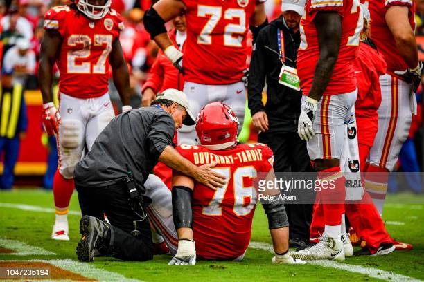 Laurent DuvernayTardif of the Kansas City Chiefs is injured on a play during the fourth quarter of the game against the Jacksonville Jaguars at...