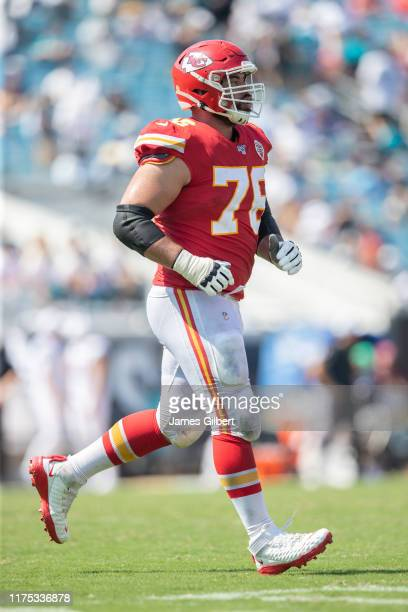 Laurent DuvernayTardif of the Kansas City Chiefs walks off the field during a game against the Jacksonville Jaguars at TIAA Bank Field on September...