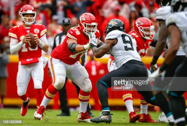 Laurent DuvernayTardif offensive guard with the Kansas City Chiefs blocked Malik Jackson defensive tackle with the Jacksonville Jaguars at Arrowhead...