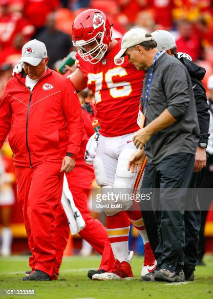 Laurent DuvernayTardif offensive guard with the Kansas City Chiefs was helped off the field with an injured leg in the game against the Jacksonville...