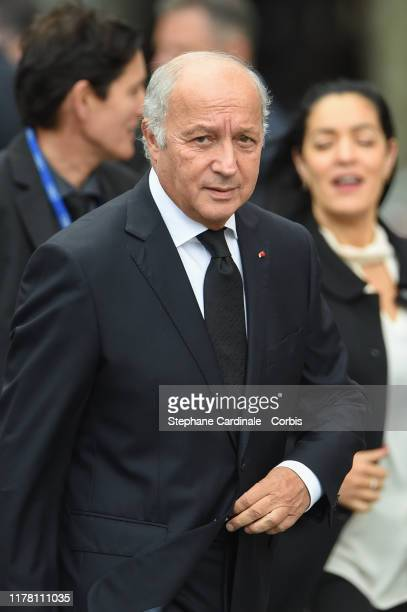 Laurent Fabius arrives to attend a church service for former French President Jacques Chirac at Eglise SaintSulpice on September 30 2019 in Paris...