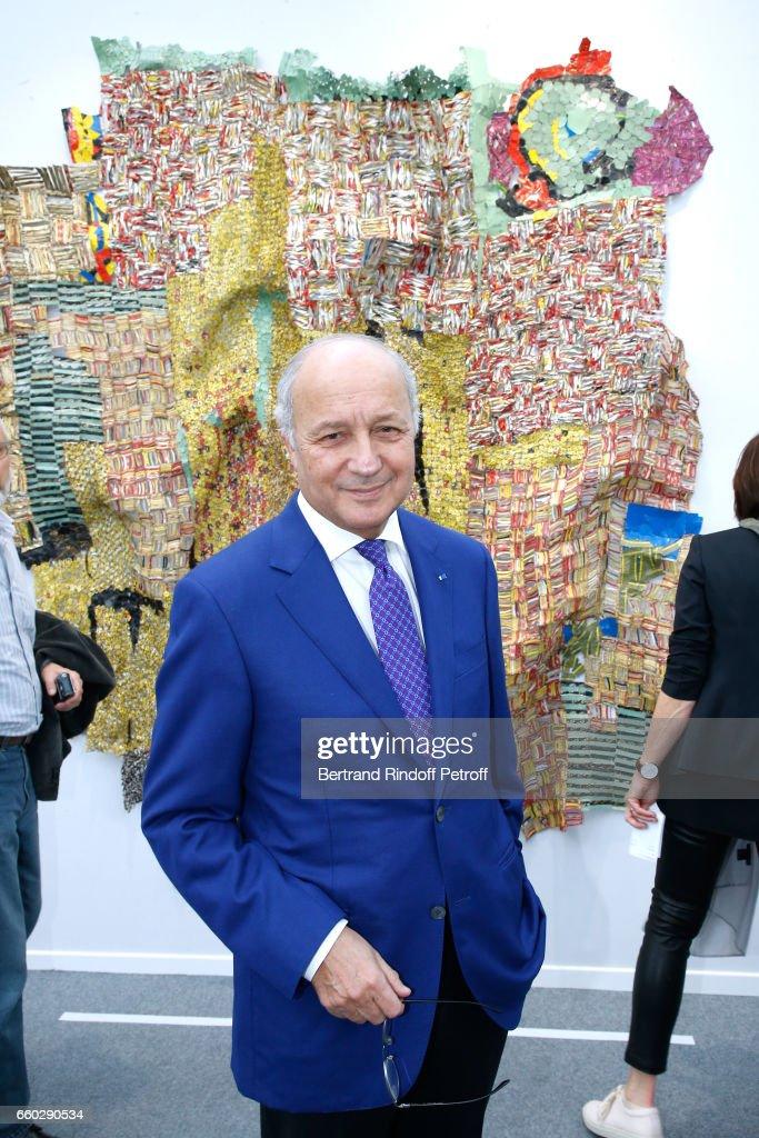 Laurent Fabius attends the 'Art Paris Art Fair' Exhibition Opening at Le Grand Palais on March 29, 2017 in Paris, France.