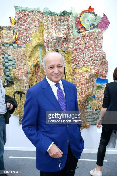 Laurent Fabius attends the 'Art Paris Art Fair' Exhibition Opening at Le Grand Palais on March 29 2017 in Paris France