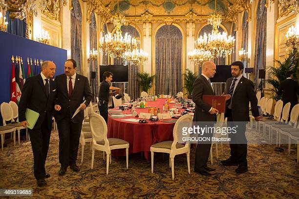 Laurent Fabius french Minister of Foreign Affairs during a Ministerial meeting at the Quai d'Orsay eleven countries of the 'Core Group' Friends of...