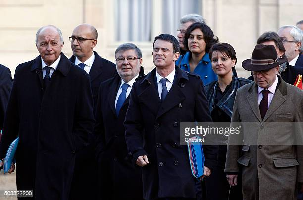 Laurent Fabius French Minister of Foreign Affairs French Prime minister Manuel Valls and Bernard Cazeneuve French Minister of the Interior arrive to...