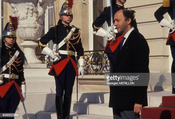 Laurent Fabius homme politique lors de la venue d'Alexandre Dubcek le 5 mars 1990 à Paris France