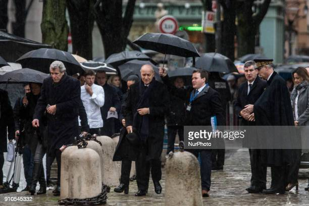 Laurent Fabius Jeorme Bocuse attend the funeral of the renowned French chef Paul Bocuse in Lyon France on January 26 2018 Bocuse often referred to as...