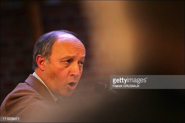Laurent Fabius of the French Socialist party on visit to Lille and Villeneuve-d'Ascq - Laurent Fabius speaks at a public meeting with Socialist...