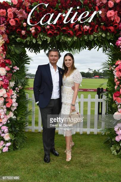 Laurent Feniou Amber Le Bon attend the Cartier Queen's Cup Polo at Guards Polo Club on June 17 2018 in Egham England
