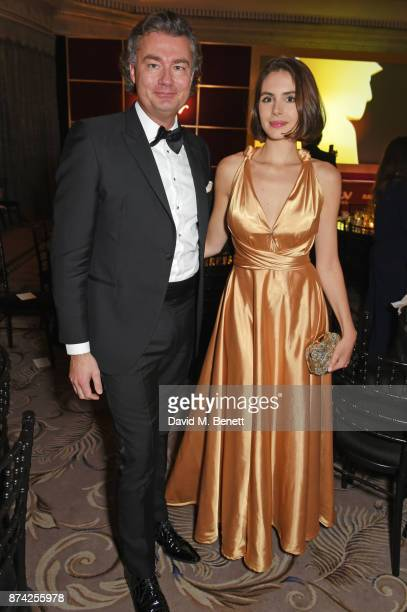 Laurent Feniou and Genevieve Gaunt attend The Cartier Racing Awards 2017 at The Dorchester on November 14 2017 in London England