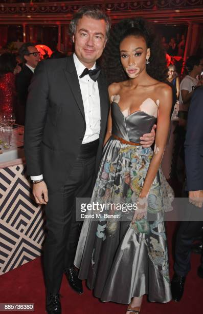 Laurent Feniou and Winnie Harlow attend The Fashion Awards 2017 in partnership with Swarovski after party at Royal Albert Hall on December 4 2017 in...