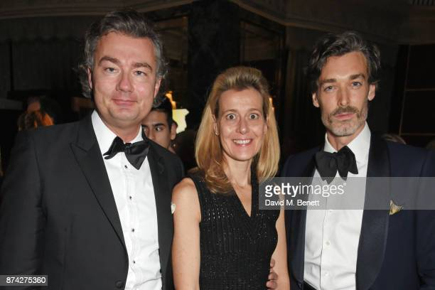 Laurent Feniou Carine Feniou and Richard Biedul attend The Cartier Racing Awards 2017 at The Dorchester on November 14 2017 in London England