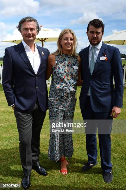 Laurent Feniou Caroline Rupert and Hickman Bacon attend the Cartier Queen's Cup Polo Final at Guards Polo Club on June 17 2018 in Egham England