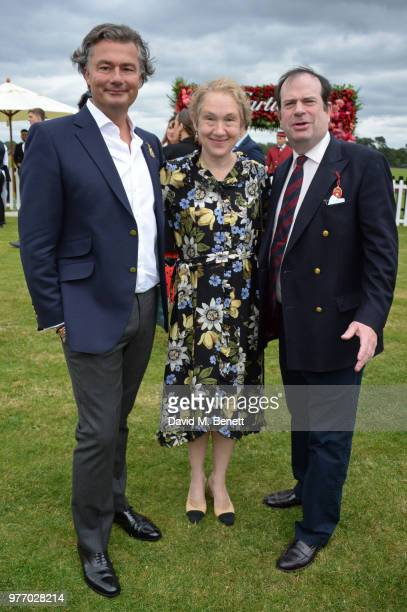 Laurent Feniou Justine Picardie and Philip Astor attend the Cartier Queen's Cup Polo Final at Guards Polo Club on June 17 2018 in Egham England