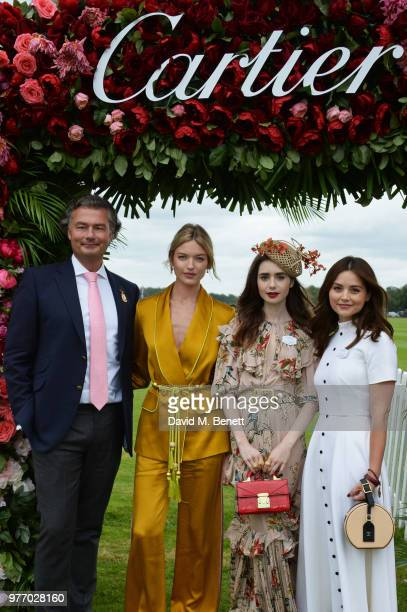 Laurent Feniou Martha Hunt Lily Collins and Jenna Coleman attend the Cartier Queen's Cup Polo Final at Guards Polo Club on June 17 2018 in Egham...