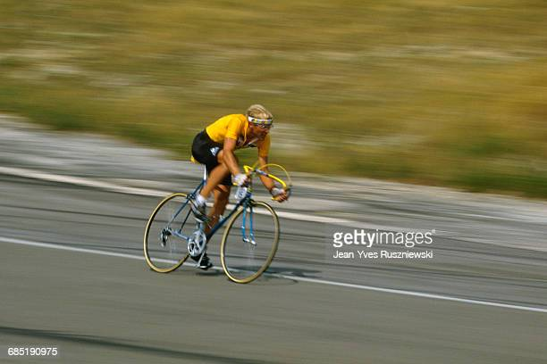 Laurent Fignon from France during stage 15, an individual time trial, during the 1989 Tour de France. | Location: Orcieres-Merlette, France.
