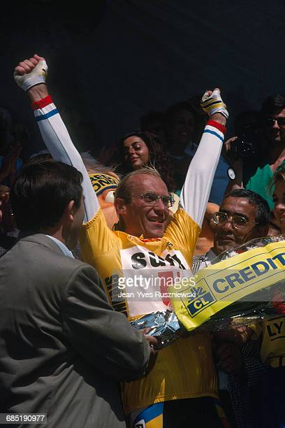 Laurent Fignon from France during the 1989 Tour de France. | Location: Superbagneres, France.