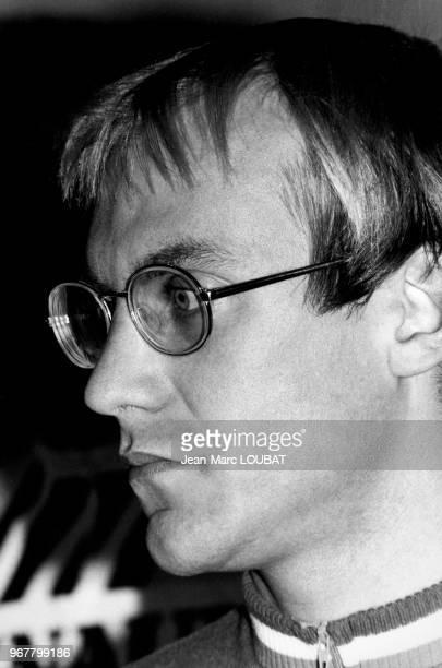 Laurent Fignon lors de la présentation de la nouvelle équipe cycliste Renault à Paris le 18 février 1985, France.