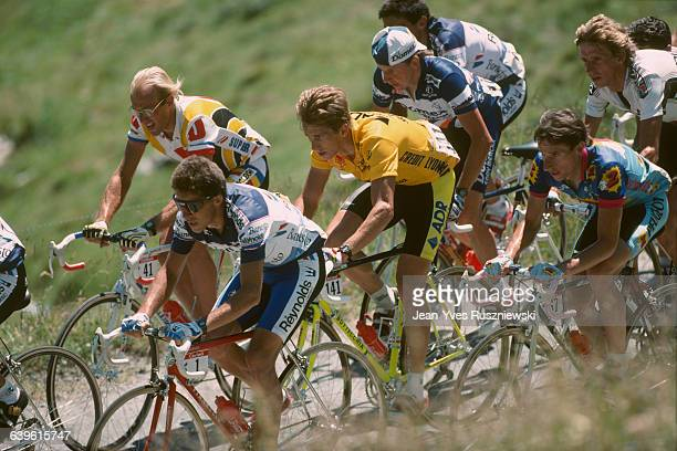 Laurent Fignon, Pedro Delgado, Greg Lemond , Beat Breu, Robert Millar and Steven Rooks compete during stage 17 of the 1989 Tour de France.