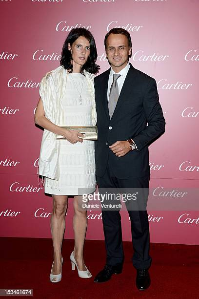 Laurent Gaborit manager director of Cartier Italia and wife attend the Cartier Boutique reopening cocktail party on October 5 2012 in Milan Italy