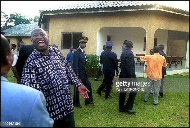 Laurent Gbagbo President of Cote D'Ivoire in Côte d'Ivoire on November 30 2001 Ivory Coast's President Laurent Gbagbo arrives in the town