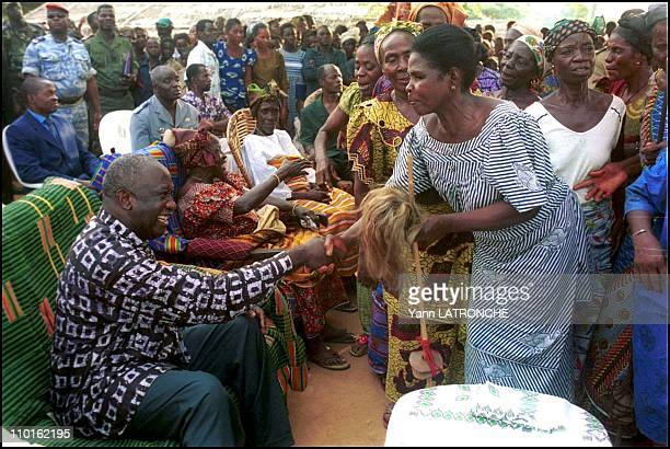 Laurent Gbagbo President of Cote D'Ivoire in Côte d'Ivoire on November 30 2001 Ivory Coast President Laurent Gbagbo visits his mother's village for...