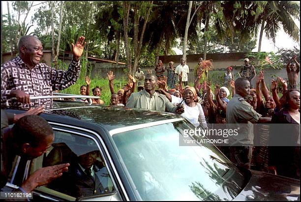 Laurent Gbagbo President of Cote D'Ivoire in Côte d'Ivoire on November 30 2001 Ivory Coast's President Laurent Gbagbo visits his people