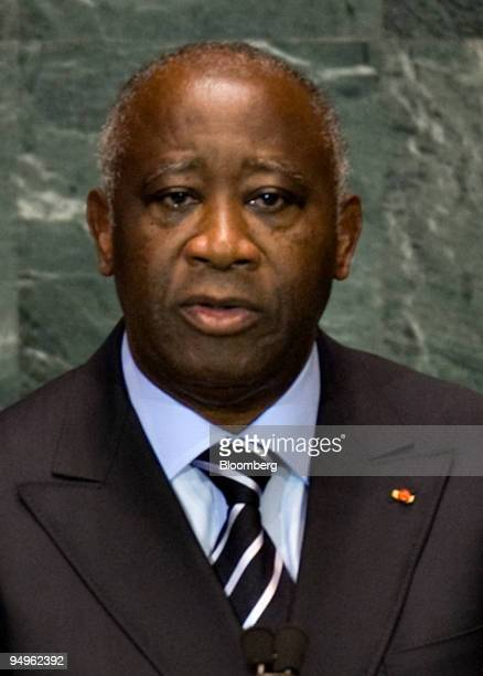 Laurent Gbagbo president of Cote d'Ivoire speaks at the 64th annual United Nations General Assembly in New York US on Friday Sept 25 2009 The General...