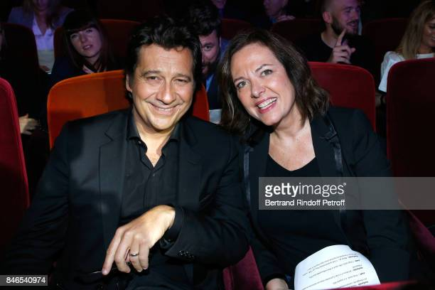 Laurent Gerra and Agnes Bonfillon attend the RTL RTL2 Fun Radio Press Conference to announce their TV Schedule for 2017/2018 at Elysee Biarritz at...