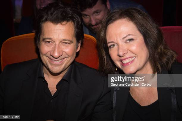 Laurent Gerra and Agnes Bonfillon attend the RTLRTL2Fun Radio Press Conference to Announce Their TV Schedule for 2017/2018 at Cinema Elysee Biarritz...