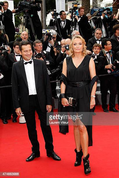 "Laurent Gerra and Christelle Bardet attend the closing ceremony and ""Le Glace Et Le Ciel"" premiere during the 68th annual Cannes Film Festival on May..."