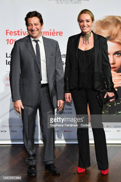 Laurent Gerra and Christelle Bardet attend the Prix Lumiere 2018 ceremony At the 10th Film Festival Lumiere on October 19, 2018 in Lyon, France.
