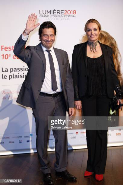 Laurent Gerra and Christelle Bardet attend the Prix Lumiere 2018 At 10th Film Festival Lumiere on October 19, 2018 in Lyon, France.