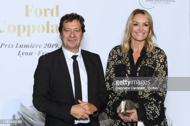 Laurent Gerra and Christelle Bardet attend the tribute to Francis Ford Coppola during the 11th Film Festival Lumiere on October 18, 2019 in Lyon,...
