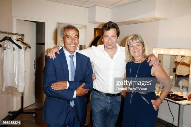 Laurent Gerra and his Parents Nanou and Nicole Gerra attend Sans Moderation Laurent Gerra's Show at Palais des Sports on June 2 2018 in Paris France